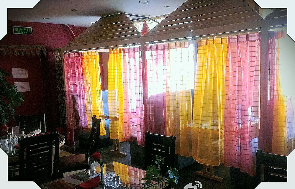 Gold-threaded Chiffon silk curtains from India!